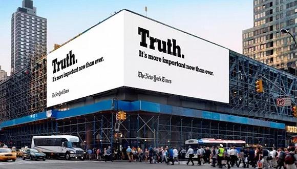 《纽约时报》十年来第一次给自己做了一大波广告,主题是真相